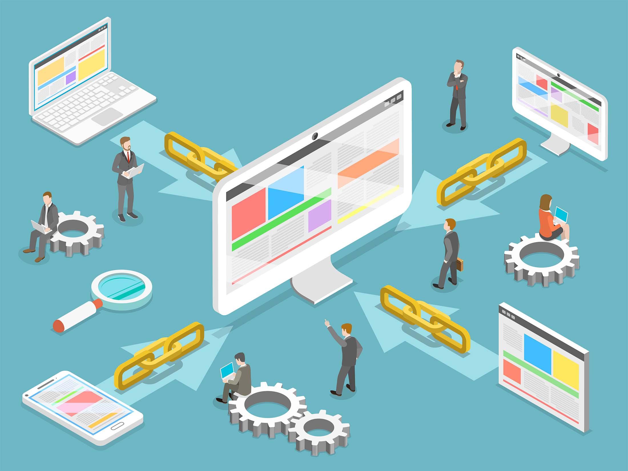 Ulike sider som linker itl en nettside. Grafikk