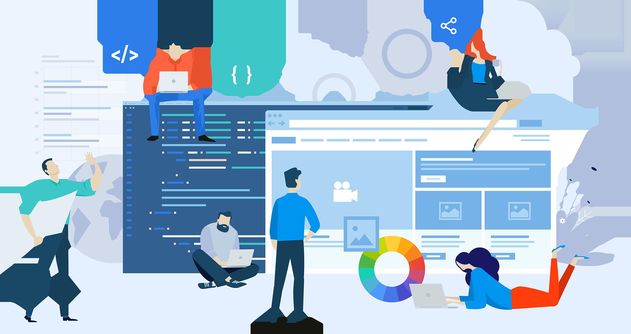 Personer som jobber på ulike deler av en nettside, bl.a. kode, innhold, design. Grafikk